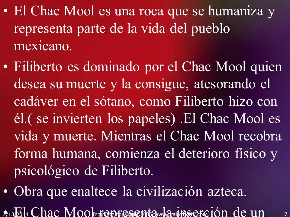 El Chac Mool es una roca que se humaniza y representa parte de la vida del pueblo mexicano. Filiberto es dominado por el Chac Mool quien desea su muer