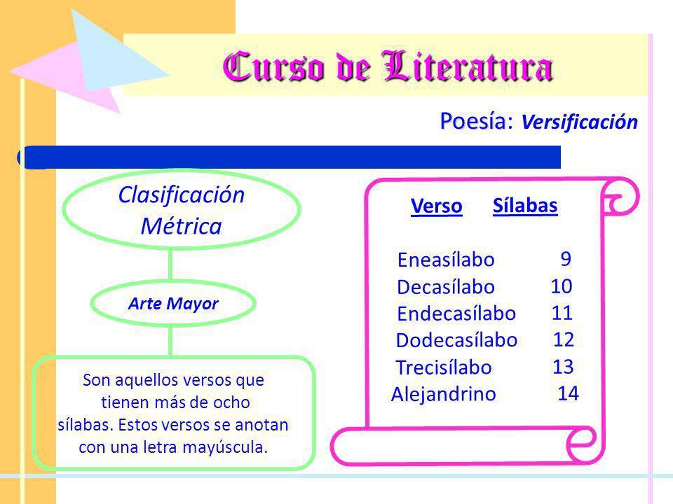 Curso de Literatura Poesía Poesía: Versificación Clasificación Métrica Son aquellos versos que tienen más de ocho sílabas. Estos versos se anotan con