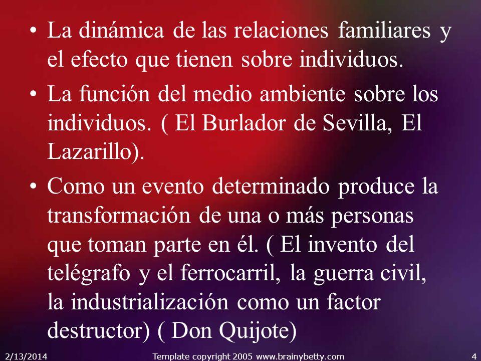 La dinámica de las relaciones familiares y el efecto que tienen sobre individuos. La función del medio ambiente sobre los individuos. ( El Burlador de