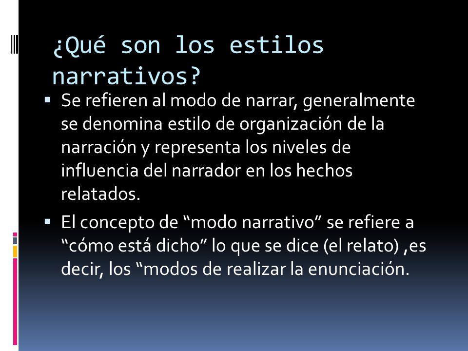¿Qué son los estilos narrativos? Se refieren al modo de narrar, generalmente se denomina estilo de organización de la narración y representa los nivel