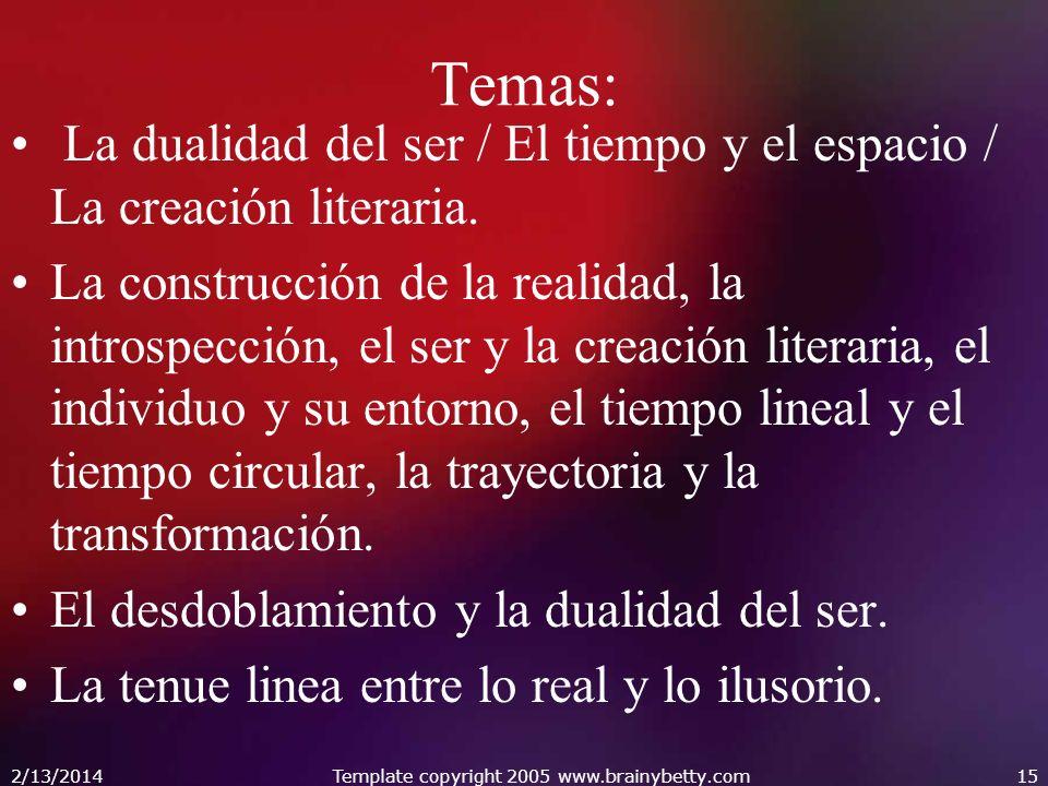 Temas: La dualidad del ser / El tiempo y el espacio / La creación literaria. La construcción de la realidad, la introspección, el ser y la creación li