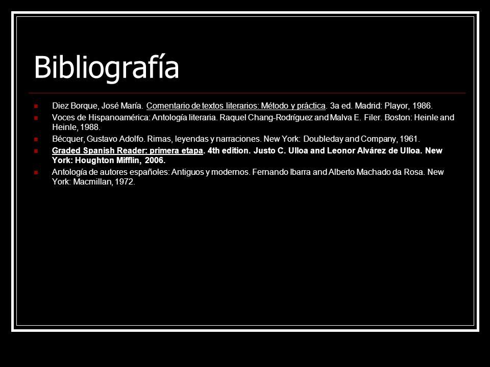 Bibliografía Diez Borque, José María. Comentario de textos literarios: Método y práctica. 3a ed. Madrid: Playor, 1986. Voces de Hispanoamérica: Antolo