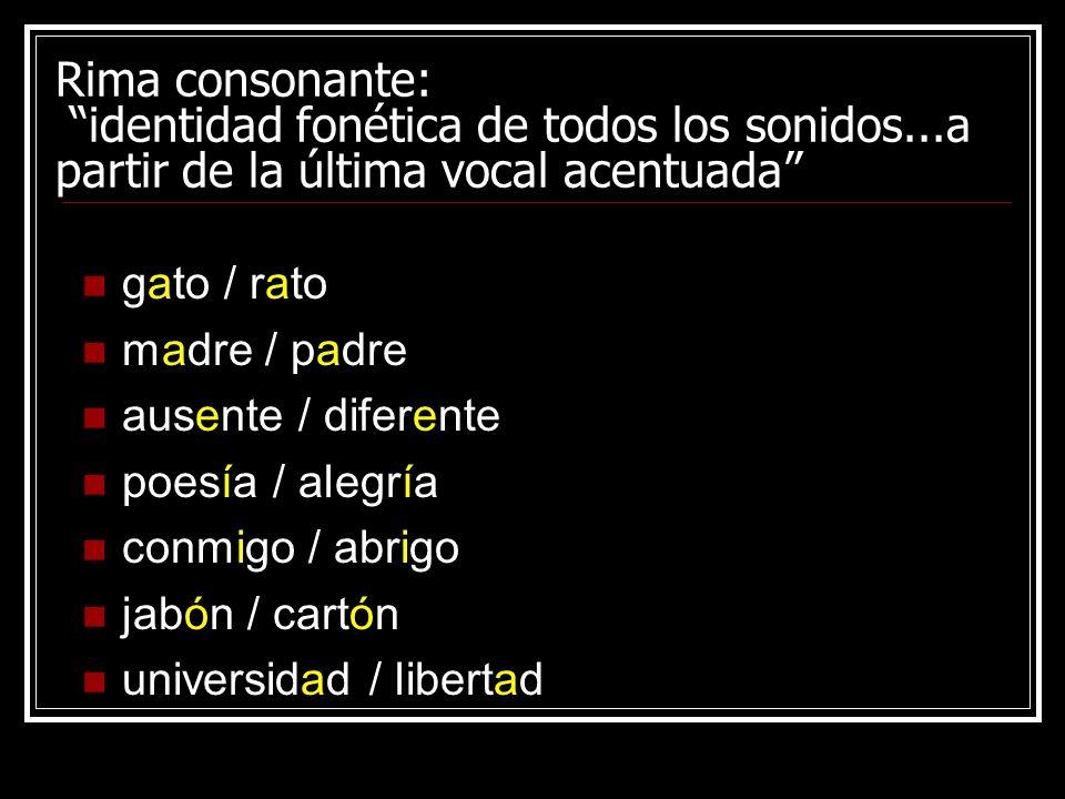 Rima consonante: identidad fonética de todos los sonidos...a partir de la última vocal acentuada gato / rato madre / padre ausente / diferente poesía