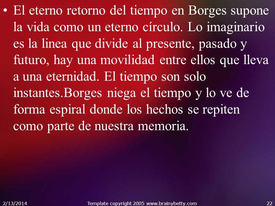 El eterno retorno del tiempo en Borges supone la vida como un eterno círculo. Lo imaginario es la linea que divide al presente, pasado y futuro, hay u