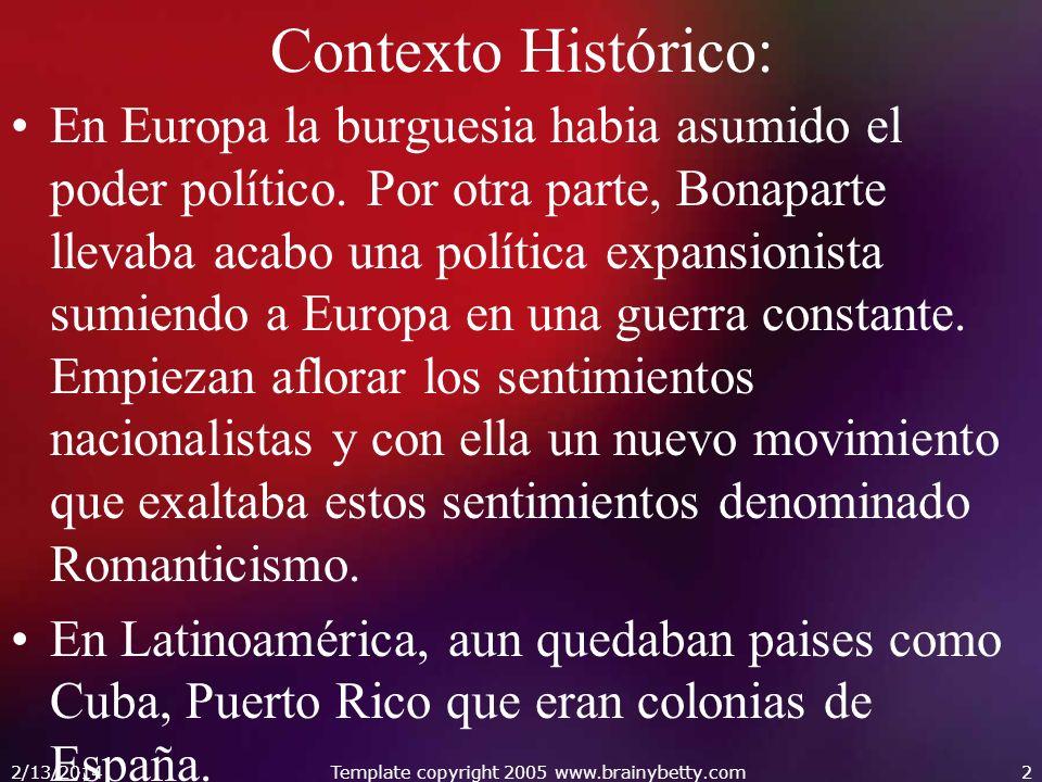 Contexto Histórico: En Europa la burguesia habia asumido el poder político. Por otra parte, Bonaparte llevaba acabo una política expansionista sumiend