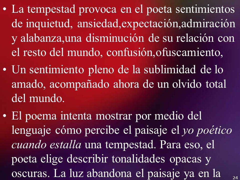La tempestad provoca en el poeta sentimientos de inquietud, ansiedad,expectación,admiración y alabanza,una disminución de su relación con el resto del
