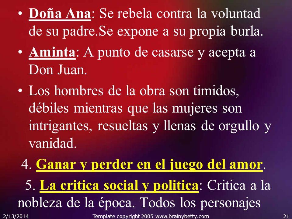 Doña Ana: Se rebela contra la voluntad de su padre.Se expone a su propia burla. Aminta: A punto de casarse y acepta a Don Juan. Los hombres de la obra