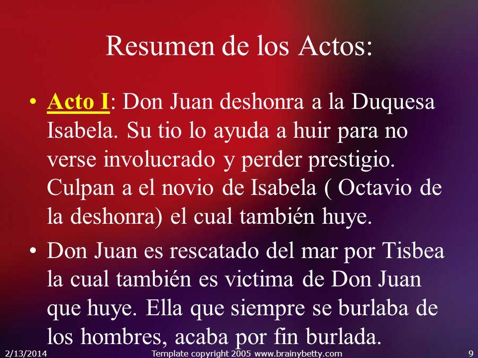 Resumen de los Actos: Acto I: Don Juan deshonra a la Duquesa Isabela. Su tio lo ayuda a huir para no verse involucrado y perder prestigio. Culpan a el