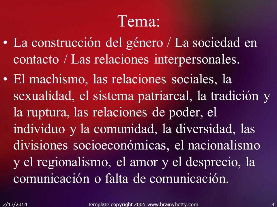 Tema: La construcción del género / La sociedad en contacto / Las relaciones interpersonales. El machismo, las relaciones sociales, la sexualidad, el s