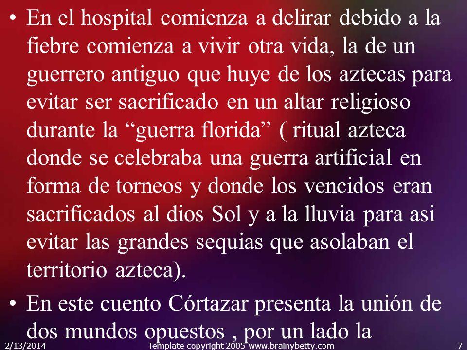 En el hospital comienza a delirar debido a la fiebre comienza a vivir otra vida, la de un guerrero antiguo que huye de los aztecas para evitar ser sac