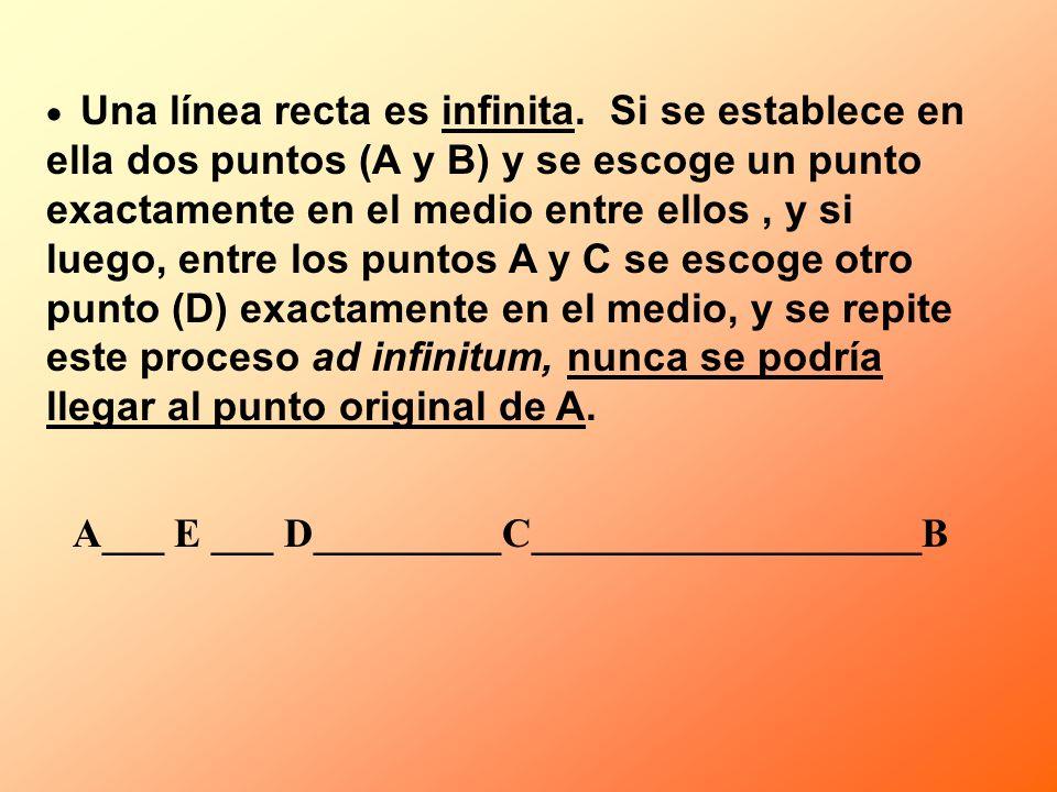 Una línea recta es infinita. Si se establece en ella dos puntos (A y B) y se escoge un punto exactamente en el medio entre ellos, y si luego, entre lo