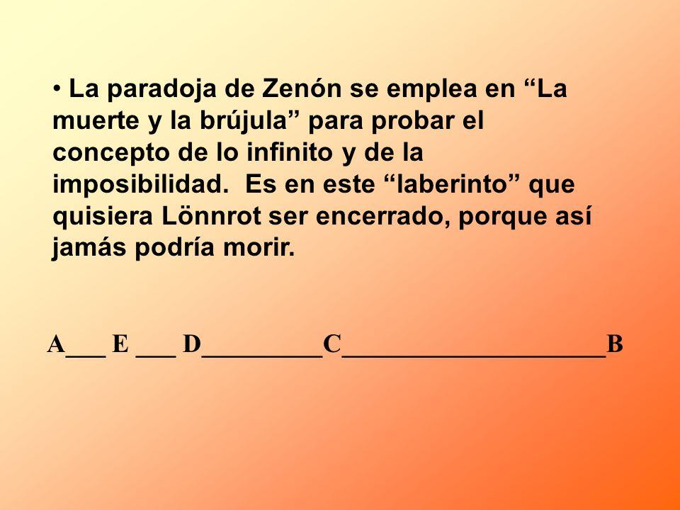 La paradoja de Zenón se emplea en La muerte y la brújula para probar el concepto de lo infinito y de la imposibilidad. Es en este laberinto que quisie