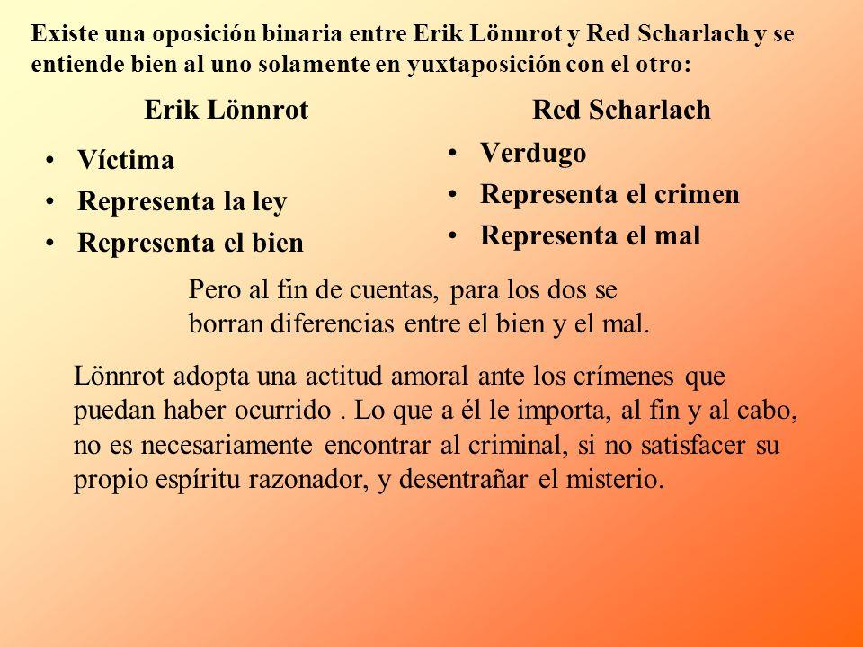 Existe una oposición binaria entre Erik Lönnrot y Red Scharlach y se entiende bien al uno solamente en yuxtaposición con el otro: Erik Lönnrot Víctima