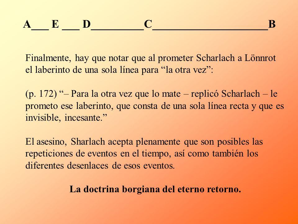 Finalmente, hay que notar que al prometer Scharlach a Lönnrot el laberinto de una sola línea para la otra vez: (p. 172) – Para la otra vez que lo mate