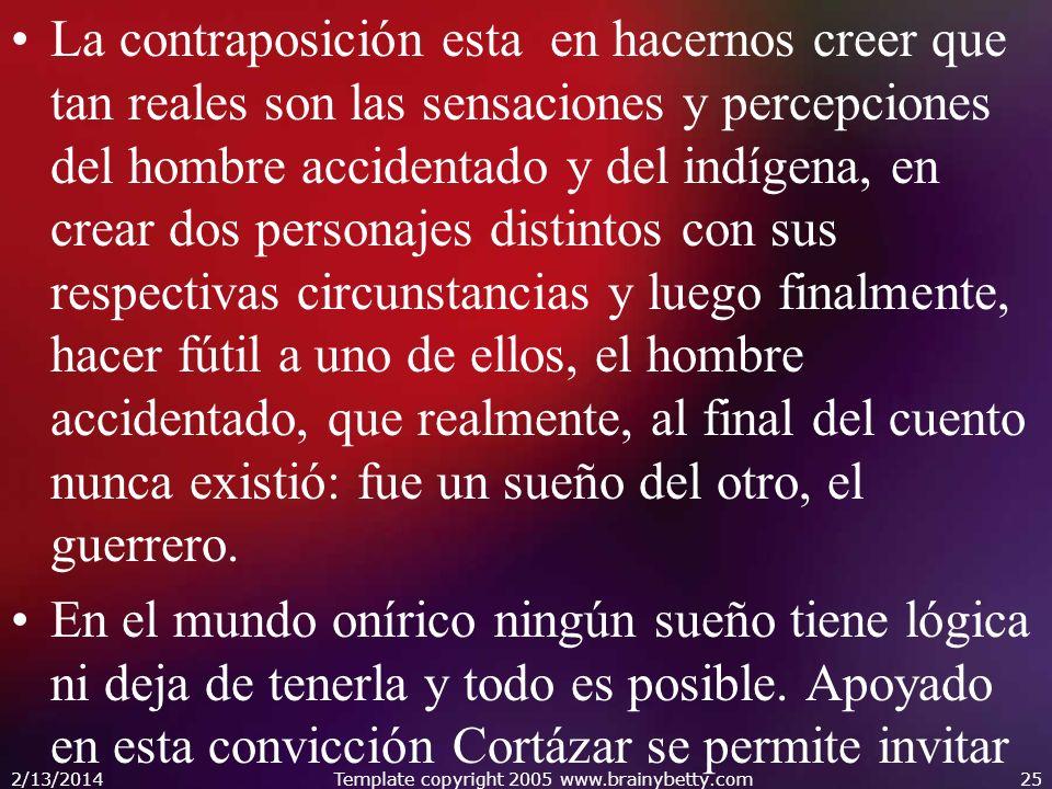 La contraposición esta en hacernos creer que tan reales son las sensaciones y percepciones del hombre accidentado y del indígena, en crear dos persona