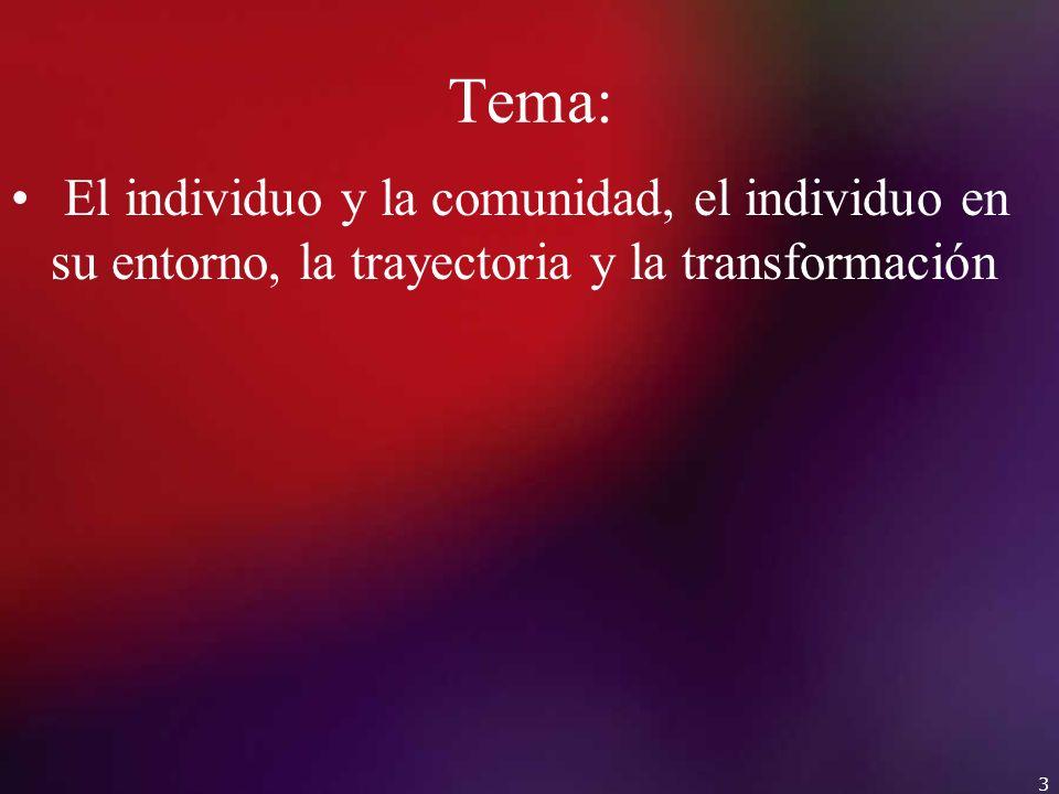 Tema: El individuo y la comunidad, el individuo en su entorno, la trayectoria y la transformación 3