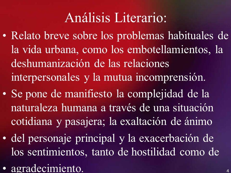 Análisis Literario: Relato breve sobre los problemas habituales de la vida urbana, como los embotellamientos, la deshumanización de las relaciones int
