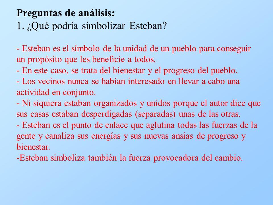 Preguntas de análisis: 1. ¿Qué podría simbolizar Esteban? - Esteban es el símbolo de la unidad de un pueblo para conseguir un propósito que les benefi