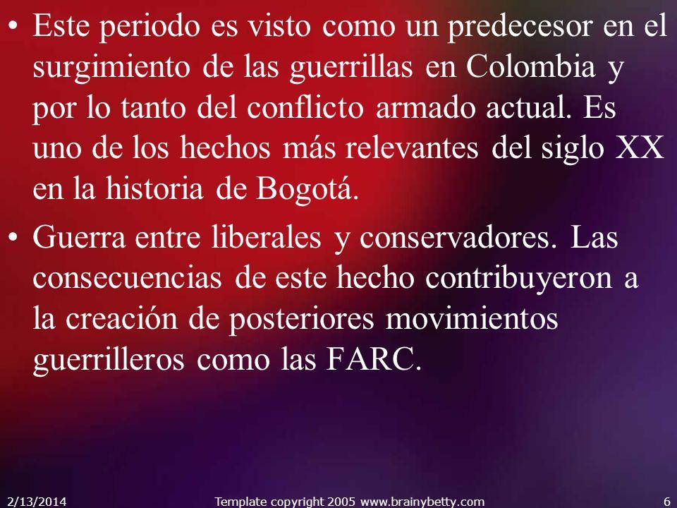 Este periodo es visto como un predecesor en el surgimiento de las guerrillas en Colombia y por lo tanto del conflicto armado actual.