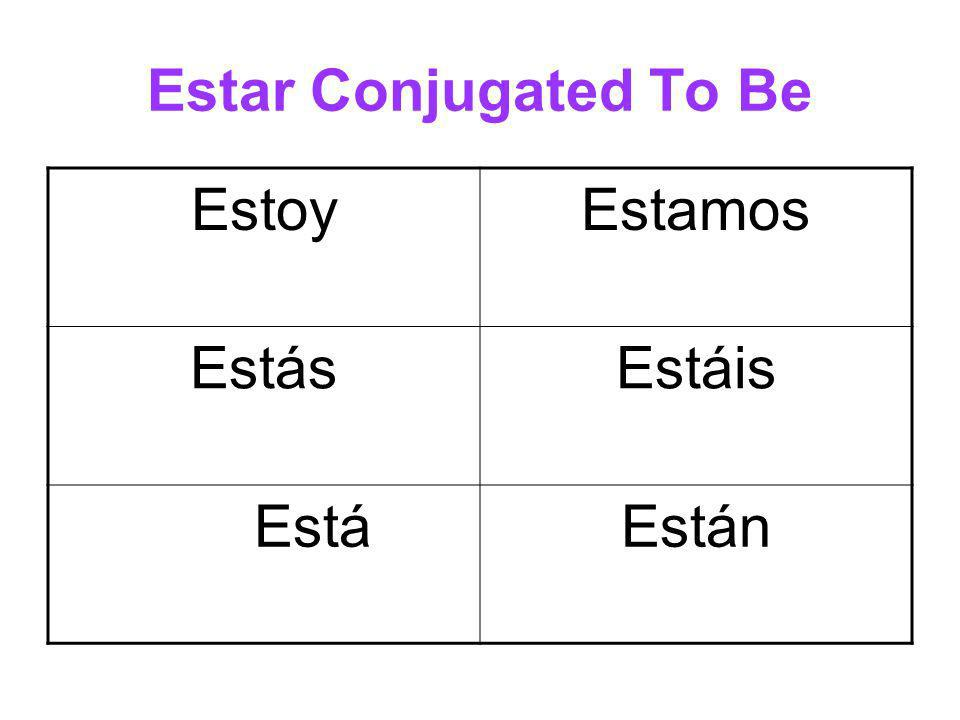 Estar Conjugated To Be EstoyEstamos EstásEstáis EstáEstán