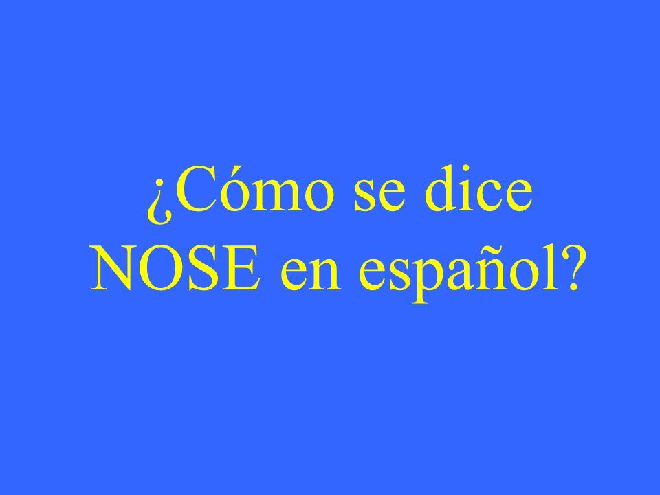 ¿Cómo se dice NOSE en español?