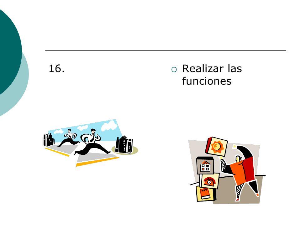 16. Realizar las funciones
