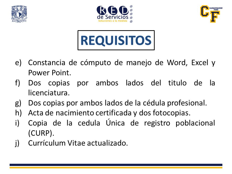 e)Constancia de cómputo de manejo de Word, Excel y Power Point.