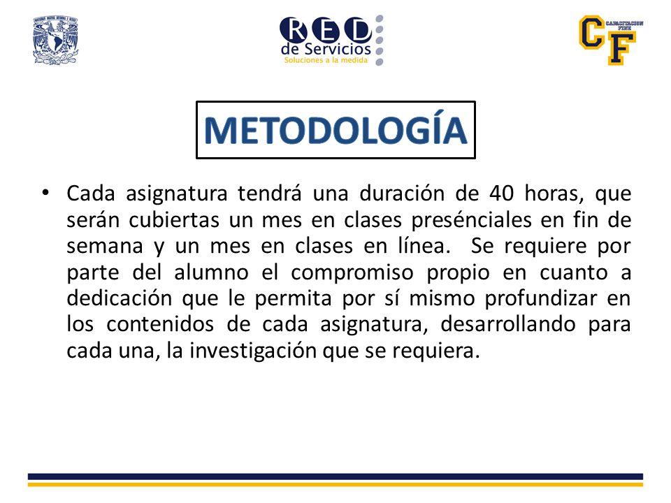 La metodología para la impartición de las asignaturas, será una por mes la cual se impartirá los viernes de 16:00 a 21:00 y los sábados de 9:00 a 14:00 hrs., cada una con una duración de 4 fines de semana por mes.