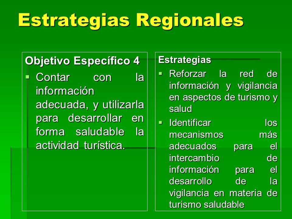 Estrategias Regionales Estrategias Regionales Estrategias Reforzar la red de información y vigilancia en aspectos de turismo y salud Reforzar la red d