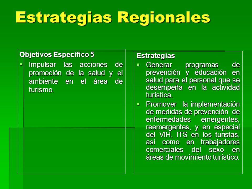 Estrategias Regionales Estrategias Regionales Estrategias Generar programas de prevención y educación en salud para el personal que se desempeña en la