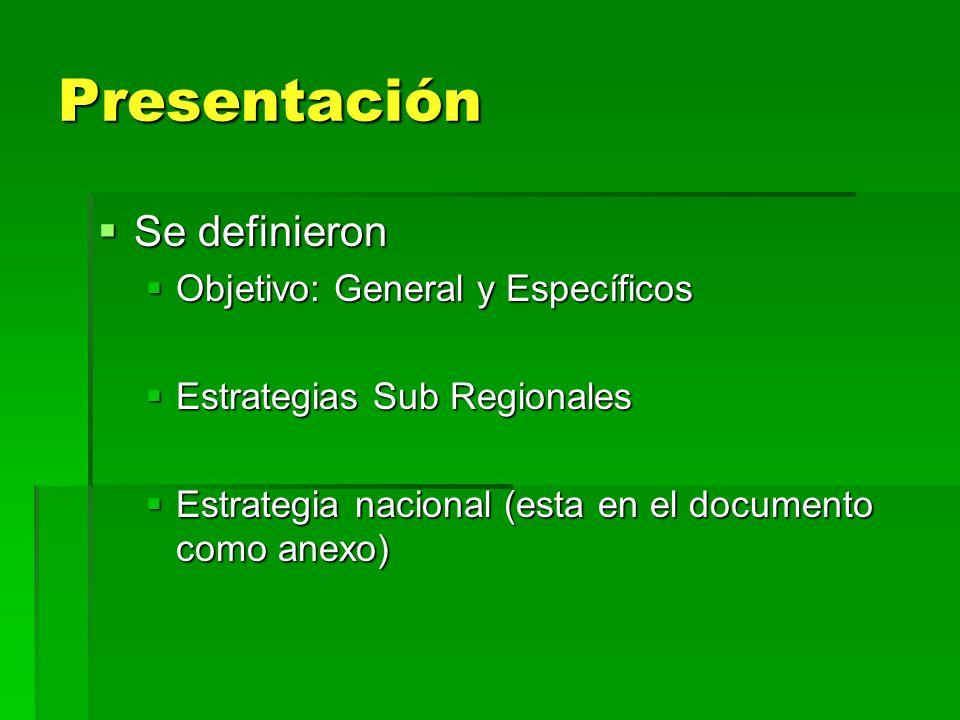 Presentación Se definieron Se definieron Objetivo: General y Específicos Objetivo: General y Específicos Estrategias Sub Regionales Estrategias Sub Re