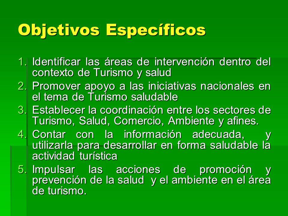 Objetivos Específicos 1.Identificar las áreas de intervención dentro del contexto de Turismo y salud 2.Promover apoyo a las iniciativas nacionales en