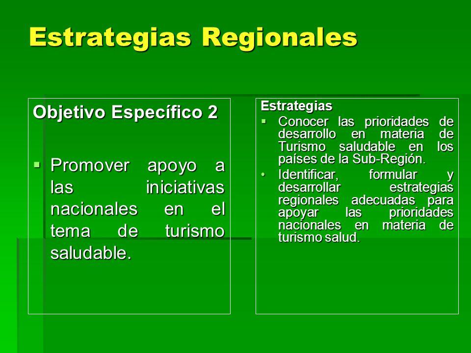 Estrategias Regionales Objetivo Específico 2 Promover apoyo a las iniciativas nacionales en el tema de turismo saludable. Promover apoyo a las iniciat