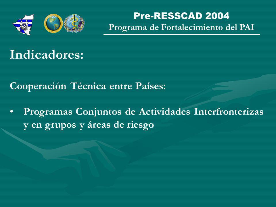 Pre-RESSCAD 2004 Programa de Fortalecimiento del PAI Indicadores: Cooperación Técnica entre Países: Programas Conjuntos de Actividades Interfronterizas y en grupos y áreas de riesgo