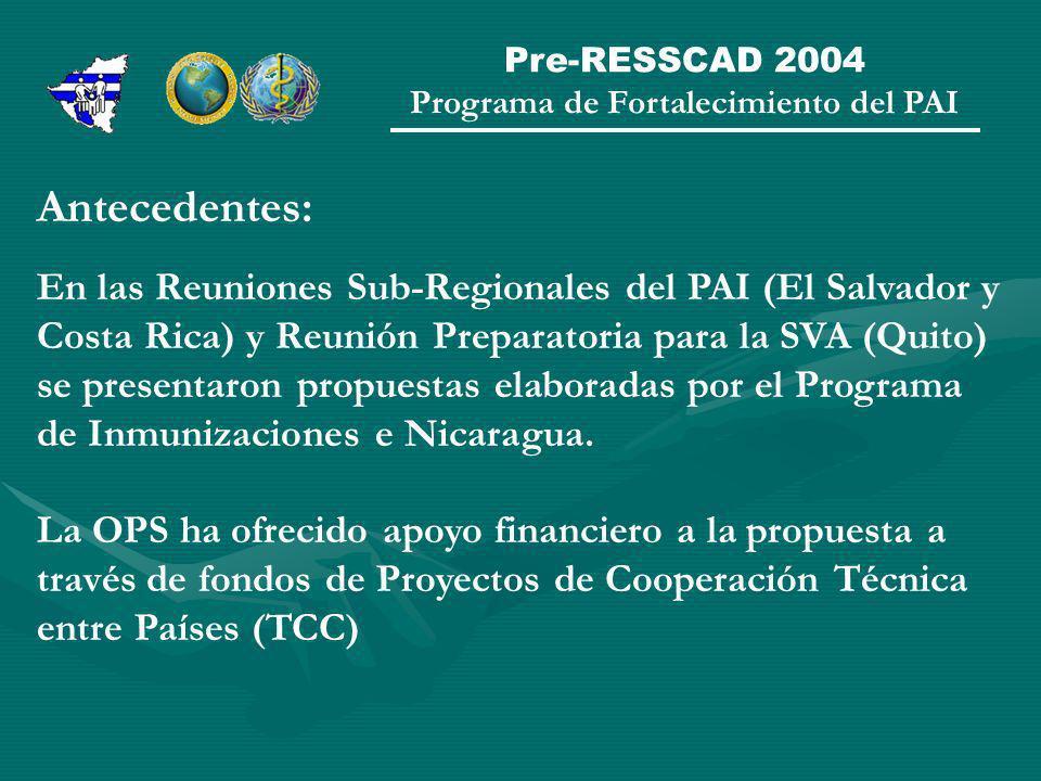 Pre-RESSCAD 2004 Programa de Fortalecimiento del PAI Antecedentes: En las Reuniones Sub-Regionales del PAI (El Salvador y Costa Rica) y Reunión Preparatoria para la SVA (Quito) se presentaron propuestas elaboradas por el Programa de Inmunizaciones e Nicaragua.