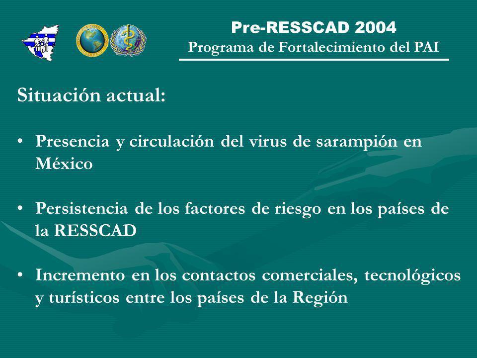 Pre-RESSCAD 2004 Programa de Fortalecimiento del PAI Situación actual: Presencia y circulación del virus de sarampión en México Persistencia de los factores de riesgo en los países de la RESSCAD Incremento en los contactos comerciales, tecnológicos y turísticos entre los países de la Región