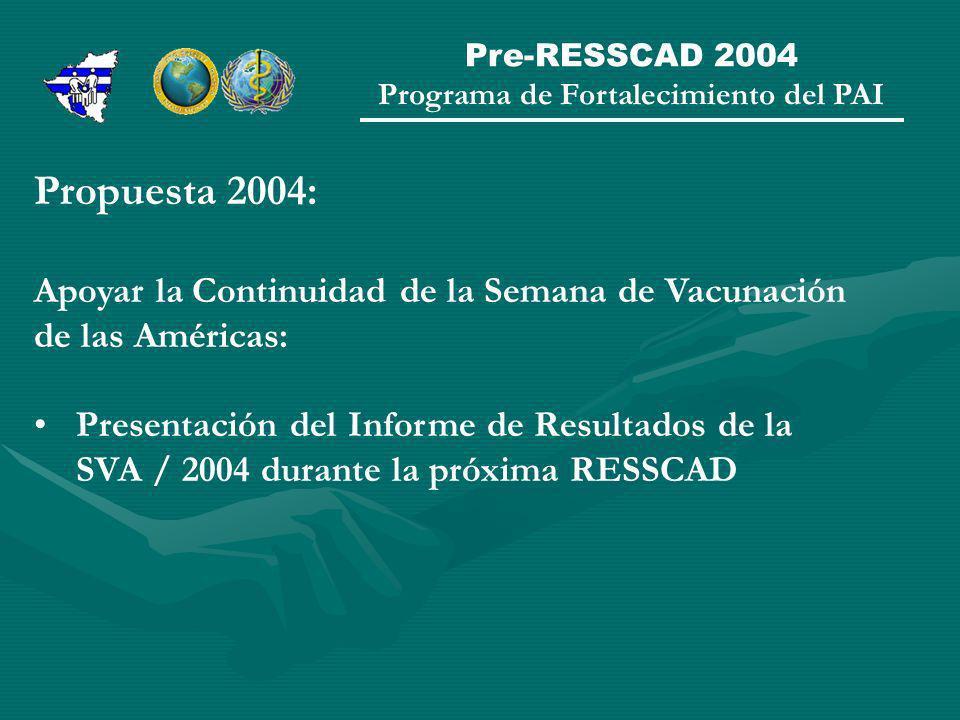Pre-RESSCAD 2004 Programa de Fortalecimiento del PAI Propuesta 2004: Apoyar la Continuidad de la Semana de Vacunación de las Américas: Presentación del Informe de Resultados de la SVA / 2004 durante la próxima RESSCAD