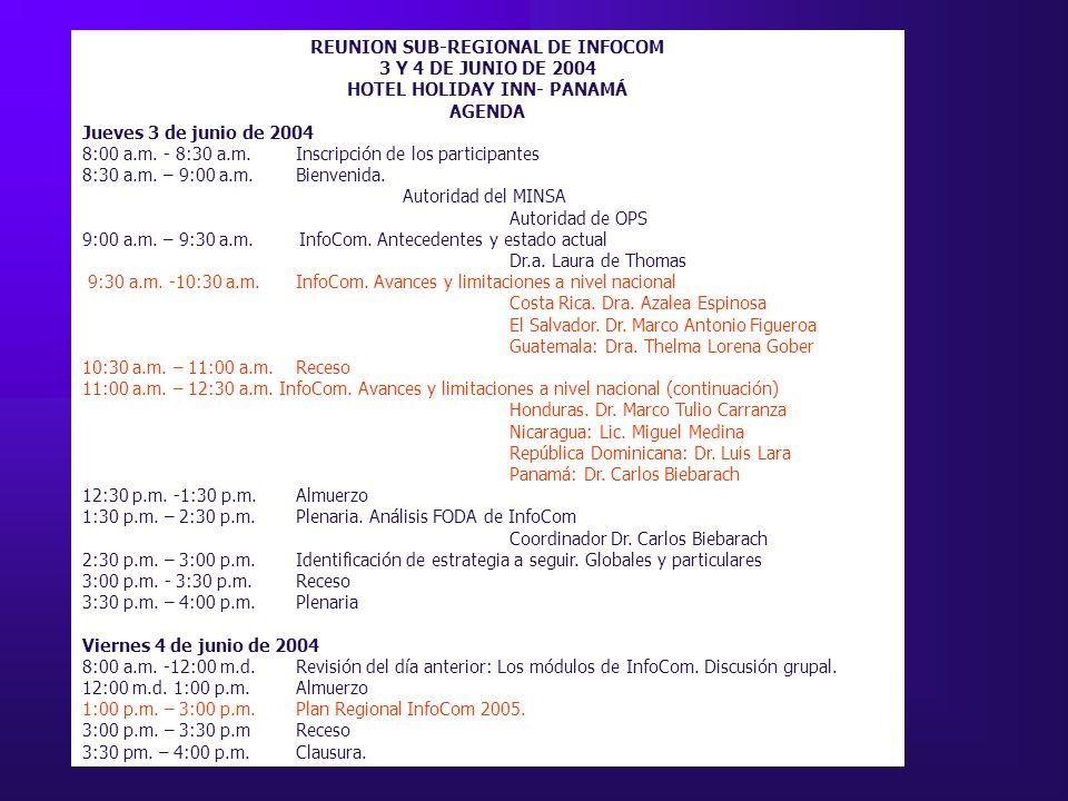 REUNION SUB-REGIONAL DE INFOCOM 3 Y 4 DE JUNIO DE 2004 HOTEL HOLIDAY INN- PANAMÁ AGENDA Jueves 3 de junio de 2004 8:00 a.m.