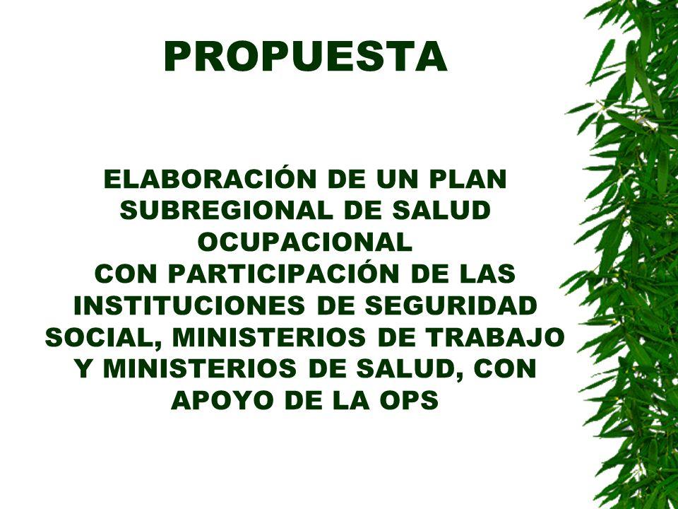 PROPUESTA ELABORACIÓN DE UN PLAN SUBREGIONAL DE SALUD OCUPACIONAL CON PARTICIPACIÓN DE LAS INSTITUCIONES DE SEGURIDAD SOCIAL, MINISTERIOS DE TRABAJO Y