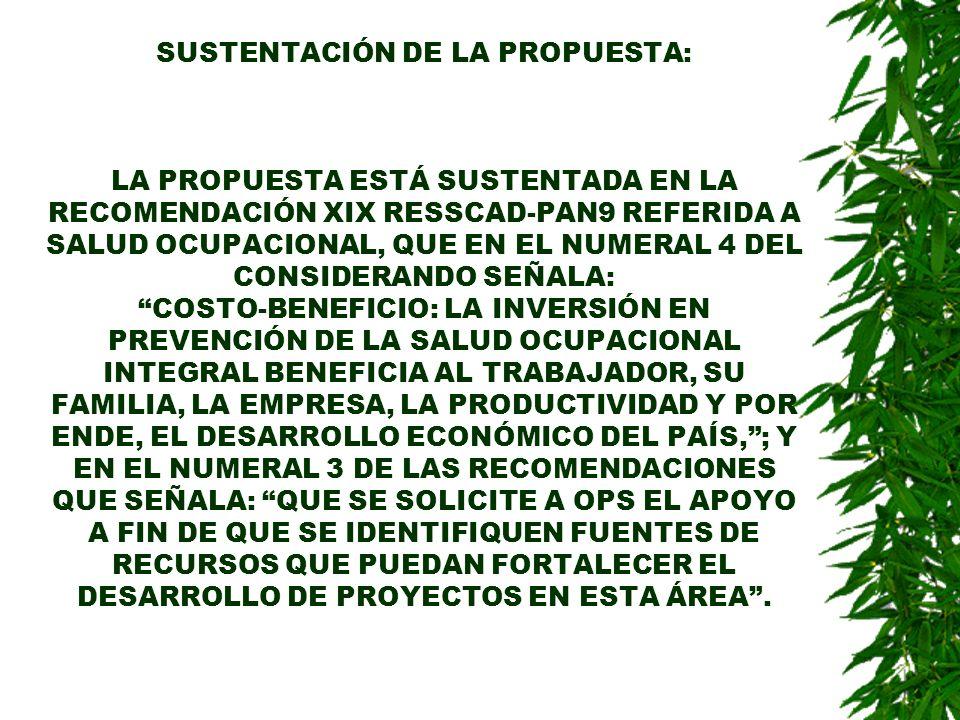 SUSTENTACIÓN DE LA PROPUESTA: LA PROPUESTA ESTÁ SUSTENTADA EN LA RECOMENDACIÓN XIX RESSCAD-PAN9 REFERIDA A SALUD OCUPACIONAL, QUE EN EL NUMERAL 4 DEL CONSIDERANDO SEÑALA: COSTO-BENEFICIO: LA INVERSIÓN EN PREVENCIÓN DE LA SALUD OCUPACIONAL INTEGRAL BENEFICIA AL TRABAJADOR, SU FAMILIA, LA EMPRESA, LA PRODUCTIVIDAD Y POR ENDE, EL DESARROLLO ECONÓMICO DEL PAÍS,; Y EN EL NUMERAL 3 DE LAS RECOMENDACIONES QUE SEÑALA: QUE SE SOLICITE A OPS EL APOYO A FIN DE QUE SE IDENTIFIQUEN FUENTES DE RECURSOS QUE PUEDAN FORTALECER EL DESARROLLO DE PROYECTOS EN ESTA ÁREA.