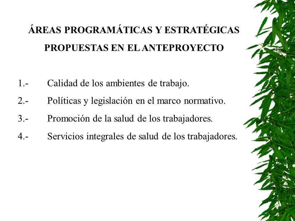 ÁREAS PROGRAMÁTICAS Y ESTRATÉGICAS PROPUESTAS EN EL ANTEPROYECTO 1.-Calidad de los ambientes de trabajo. 2.-Políticas y legislación en el marco normat