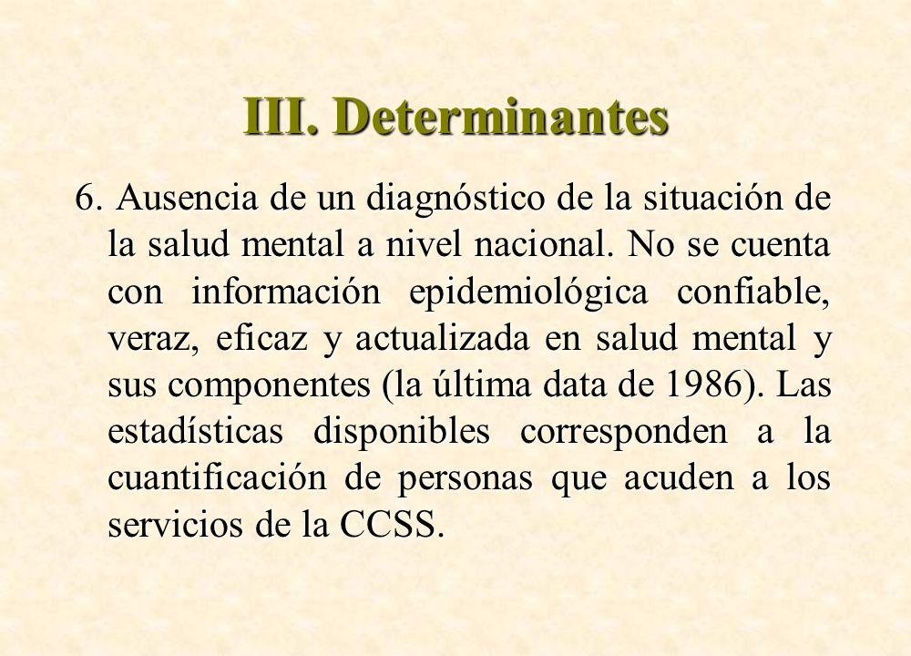 6. Ausencia de un diagnóstico de la situación de la salud mental a nivel nacional. No se cuenta con información epidemiológica confiable, veraz, efica