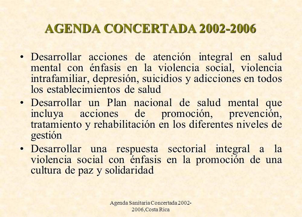 Agenda Sanitaria Concertada 2002- 2006,Costa Rica AGENDA CONCERTADA 2002-2006 Desarrollar acciones de atención integral en salud mental con énfasis en