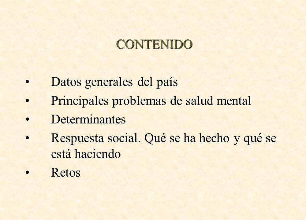 CONTENIDO Datos generales del paísDatos generales del país Principales problemas de salud mentalPrincipales problemas de salud mental DeterminantesDet