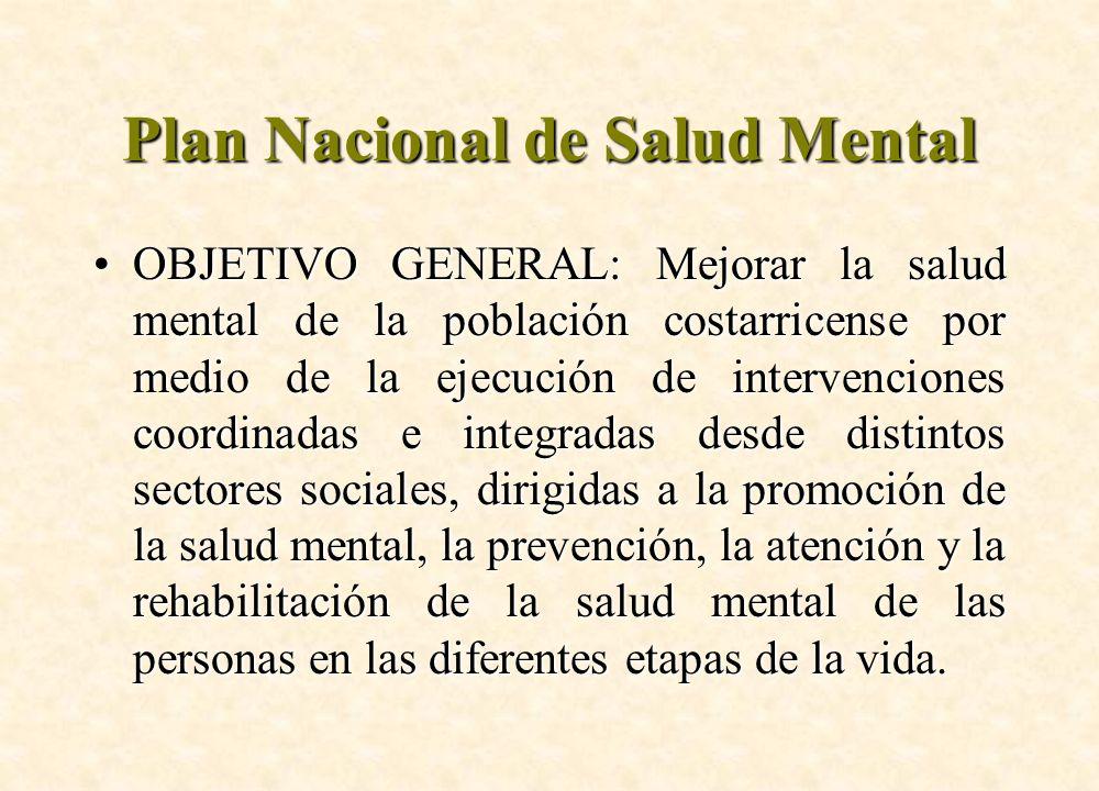 Plan Nacional de Salud Mental OBJETIVO GENERAL: Mejorar la salud mental de la población costarricense por medio de la ejecución de intervenciones coor