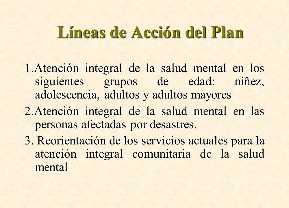 Líneas de Acción del Plan 1.Atención integral de la salud mental en los siguientes grupos de edad: niñez, adolescencia, adultos y adultos mayores 2.At