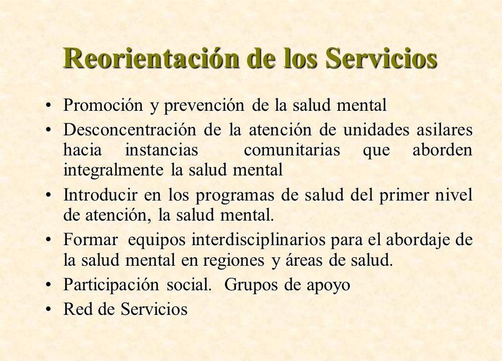 Reorientación de los Servicios Promoción y prevención de la salud mentalPromoción y prevención de la salud mental Desconcentración de la atención de u