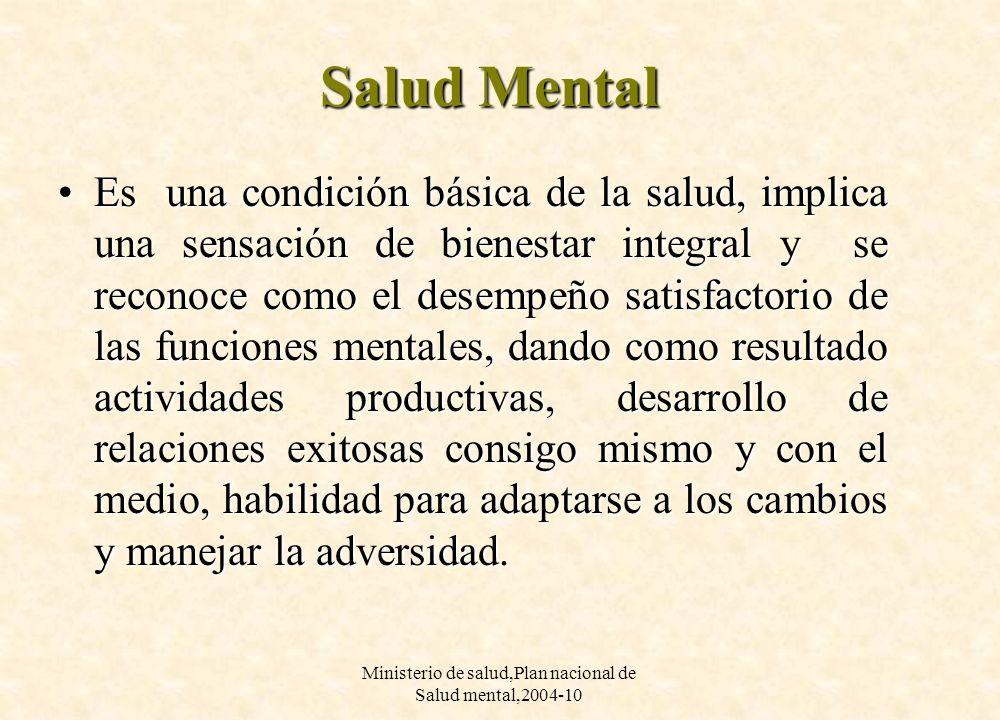 Ministerio de salud,Plan nacional de Salud mental,2004-10 Salud Mental Es una condición básica de la salud, implica una sensación de bienestar integra