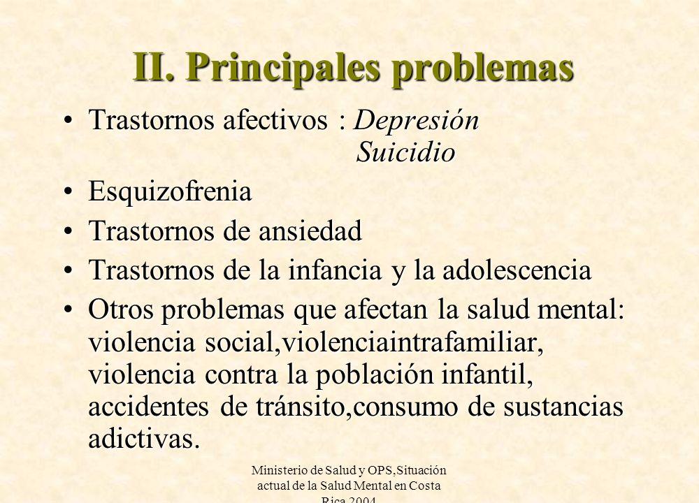 Ministerio de Salud y OPS,Situación actual de la Salud Mental en Costa Rica 2004 II. Principales problemas Trastornos afectivos : Depresión SuicidioTr
