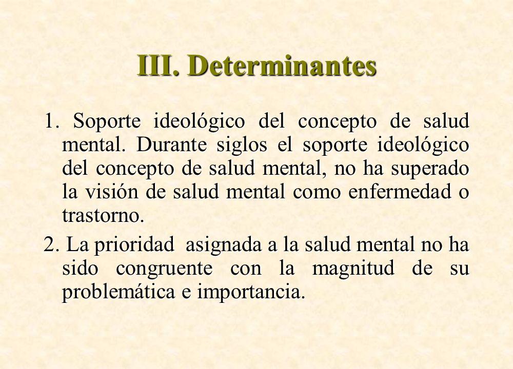 III. Determinantes 1. Soporte ideológico del concepto de salud mental. Durante siglos el soporte ideológico del concepto de salud mental, no ha supera